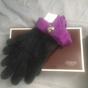 COACH cashmere gloves with purple bow
